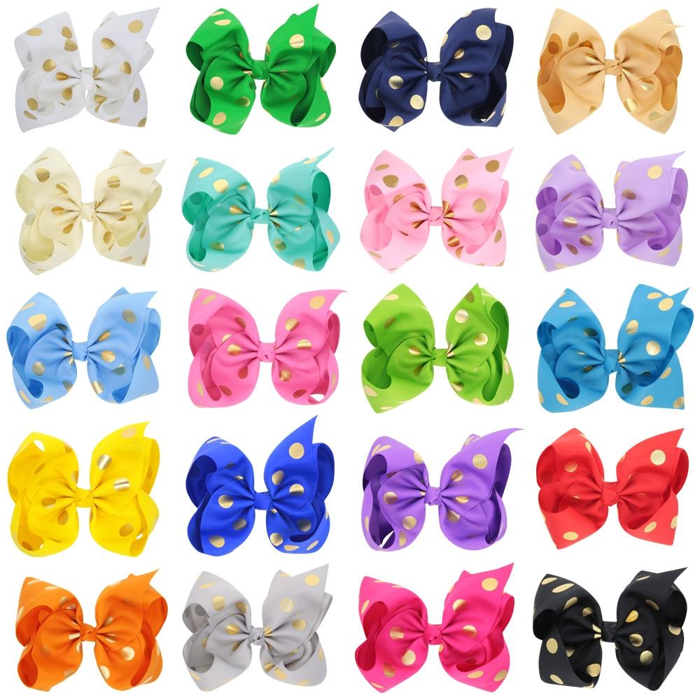 Venta al por menor 8 pulgadas cinta grande de grogrén oro polka dots boutique JOJO lazos de cabello con clip de cocodrilo para accesorios de niña
