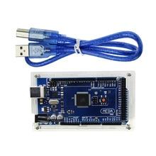 Carte méga 2560 R3 Mega2560 ATmega2560-16AU CH340G + boîtier acrylique + câble USB Compatible pour kit Arduino ATMega16U2