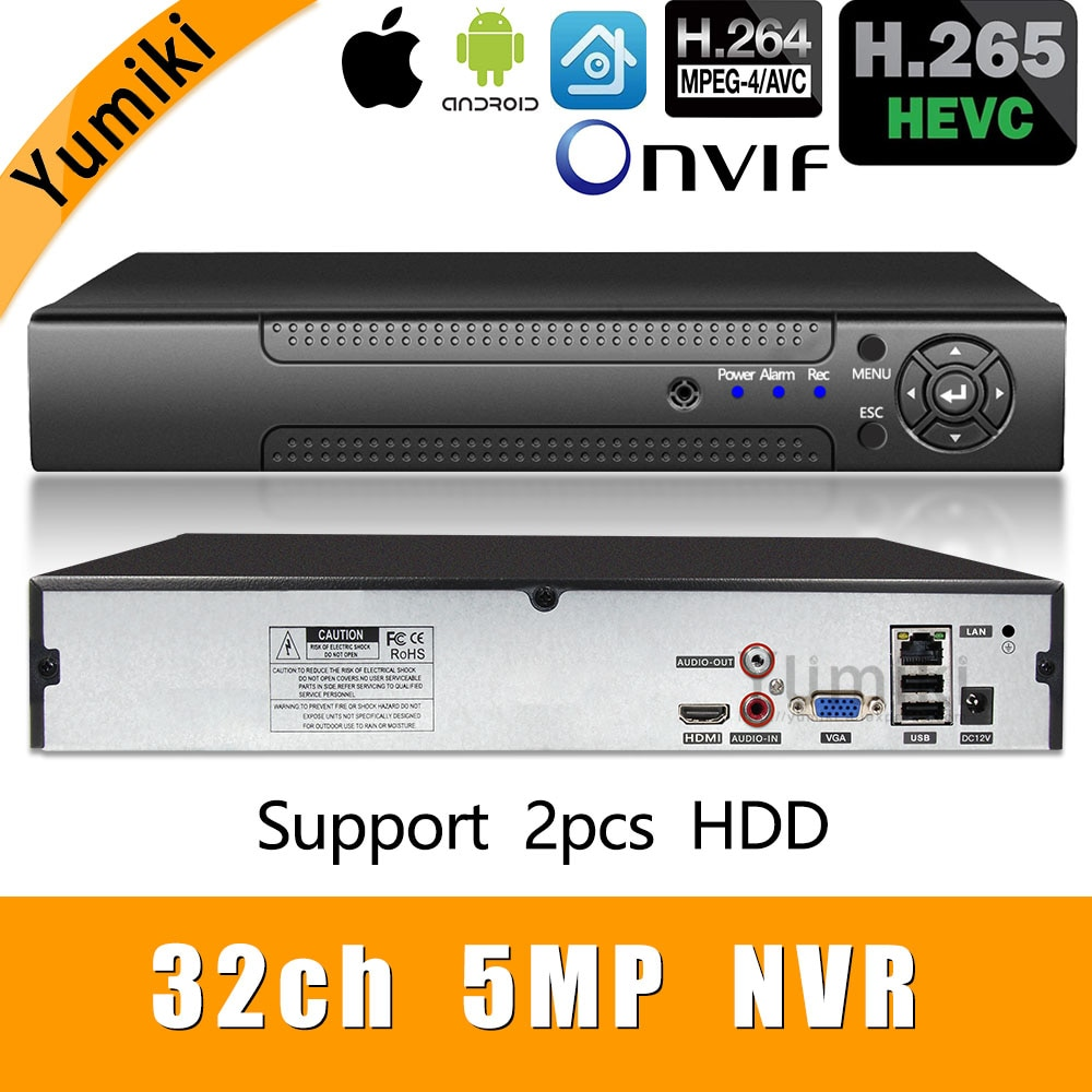 H.265 +/H.264 8ch * 4K/32ch * 5.0MP/32ch * 1080P NVR شبكة Vidoe مسجل 1080P/720P IP كاميرا ONVIF CMS XMEYE 2 * SATA HDD