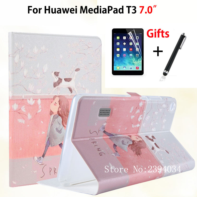 Slim Fashion Case for Huawei MediaPad T3 7.0 BG2-W09 Smart Cover Stand Funda TPU + PU Leather for Honor Play Pad 2 7.0 +Film+Pen