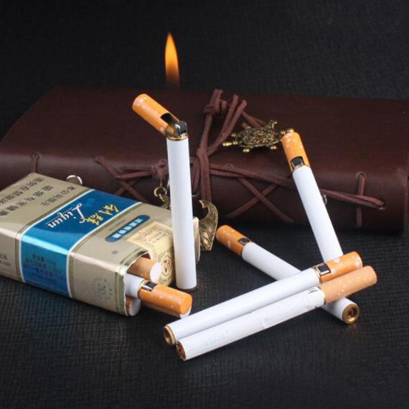 Mini Slim Metal Cigarette Shaped Lighter Refillable Butane Gas Grinding Wheel Smoking Cigar Lighter