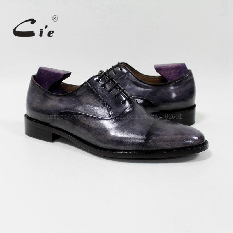 Cie okrągłe captoe skóry cielęcej mężczyzn buty Handmade 100% prawdziwa skóra cielęca podeszwa oddychające blake sznurowanie patyna szary OX-05- 02