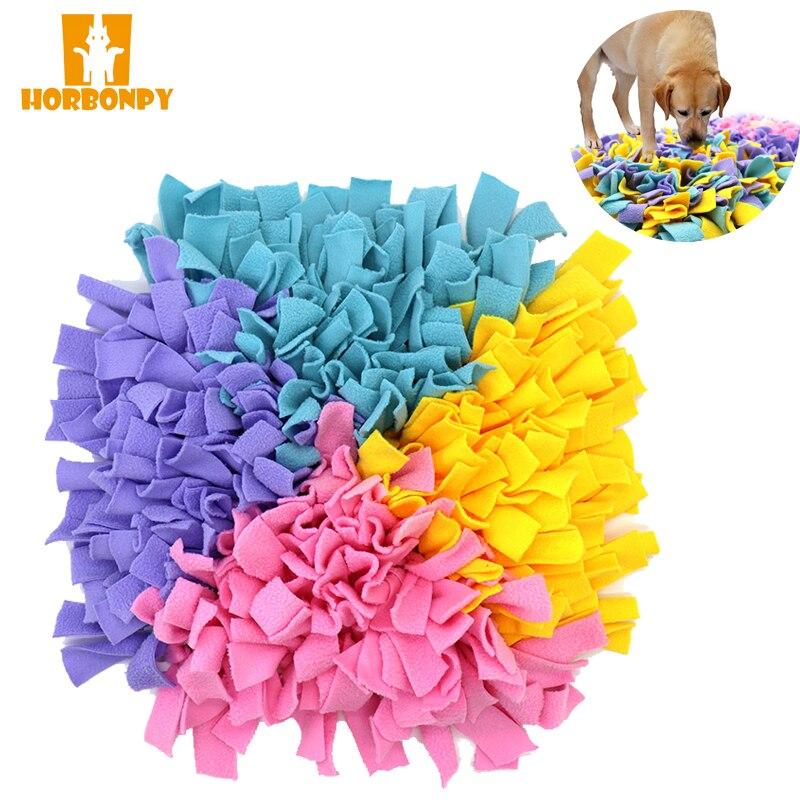 Коврик для обнюхивания собак HORBONPY, тренировочное одеяло для еды, игровые игрушки, коврик для собаки для медленной еды, пазл, коврик для обнюх...