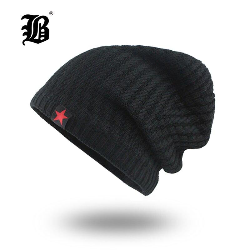 [FLB] Мужская зимняя шапка Skullies Beanies, вязаная шапка в стиле хип-хоп, бархатная шапка Rasta, шапка со звездами, головные уборы для мужчин F18007