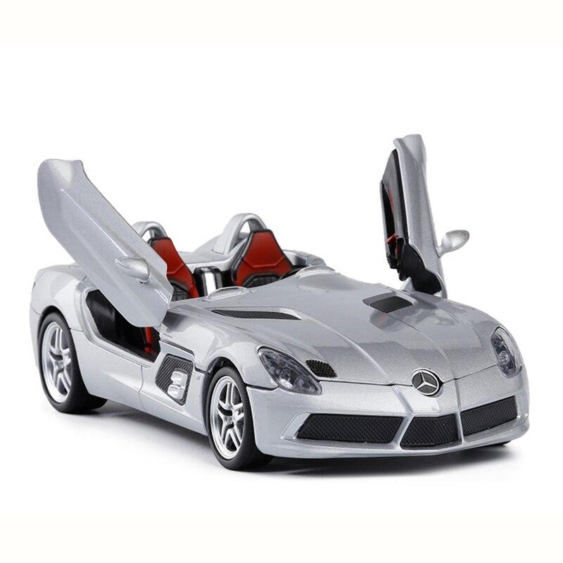 124 Liga De Simulação Modelo de Carro Esportivo SLR Requintado Coleção Brinquedos Carro Com Som e Luz Puxar Para Trás Veículos Presentes Dos Miúdos