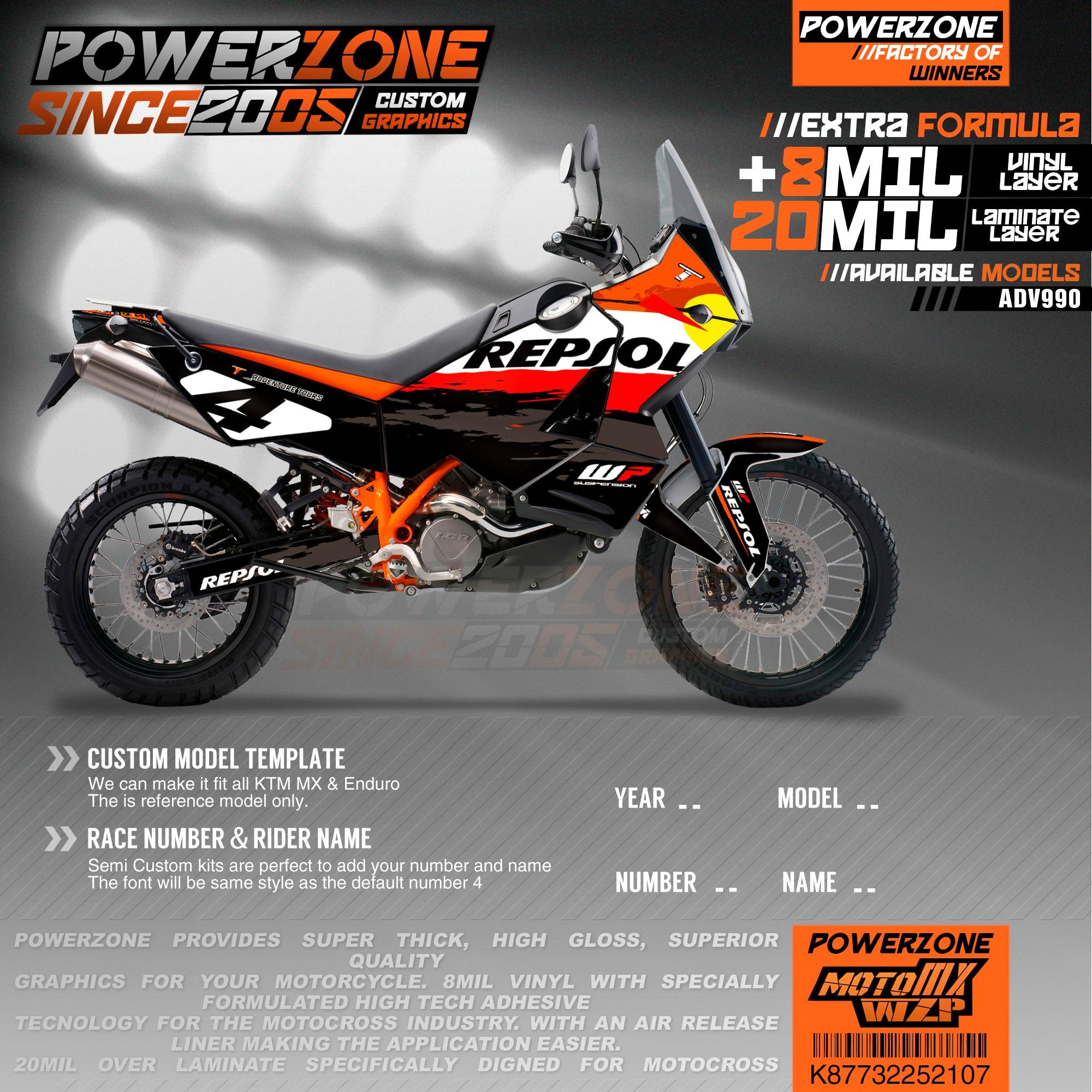 PowerZone مخصص فريق الرسومات الخلفيات الشارات 3M ملصقات عدة ل KTM ADV 950 990 107