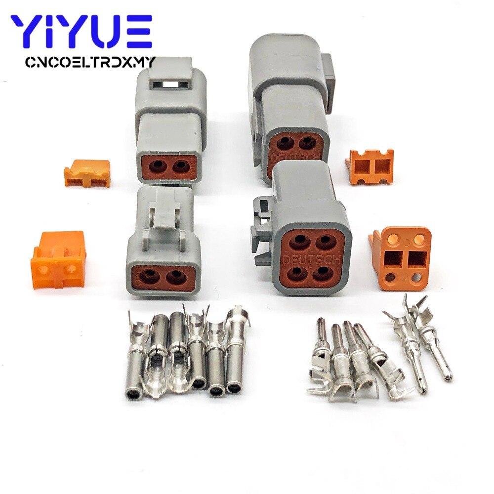 5 conjunto deutsch dtp 2/4 pinos fêmea macho cinza à prova dwaterproof água elétrica auto conectores plug DTP06-4S/DTP06-2S DTP04-4P/DTP04-2P