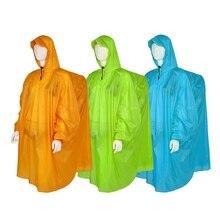 กลางแจ้งน้ำหนักเบา 15D ซิลิโคนเสื้อกันฝน Multi Functional Poncho ฝนกันน้ำสำหรับ Camping Hiking TRAVEL