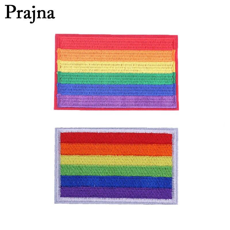 Parches LGBT Prajna con diseño de bandera, Parche de hierro bordado arcoíris para ropa, insignias de Orgullo Gay, apliques para mochila, pegatinas para coser E