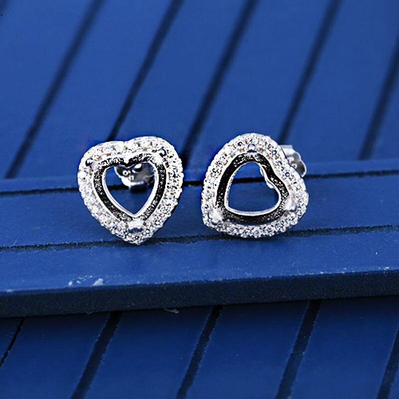 Pendientes de plata de ley 925 para mujer, pendientes de cabujón de corazón de 7x7mm, pendientes media montura para turquesa, ámbar, cristales