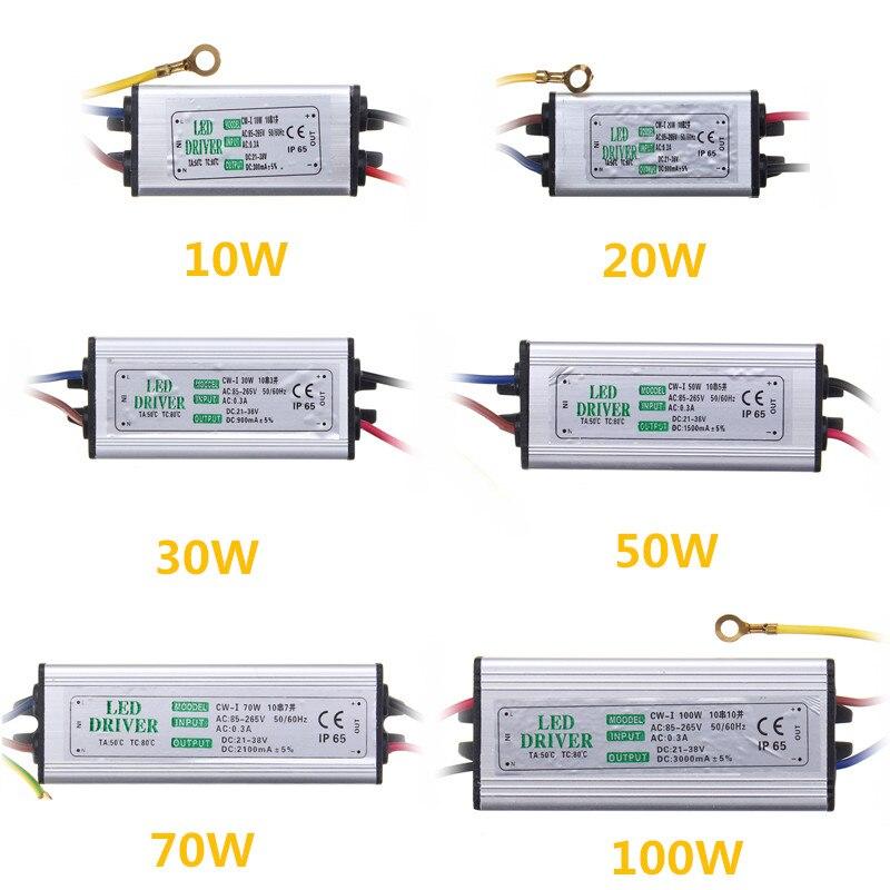 Jiguoor 10W 20W 30W 50W 100W Waterproof High Power Supply LED Driver AC85-265V Input Electronic Transformer