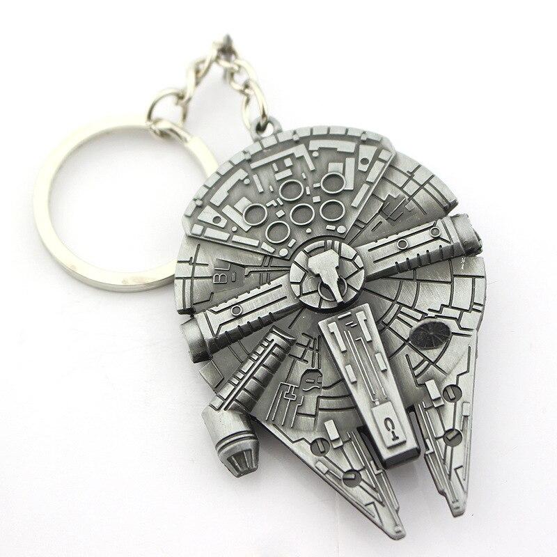 Bespmosp película Star Wars nave espacial colgante de metal con logotipo llaveros anillos llaveros hombres niños regalo coche llavero de bolsas joyería