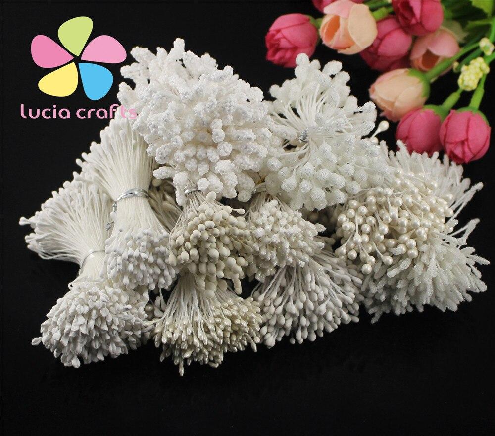 900 Uds al azar 1-5mm color blanco/crema 11 estilos flor floral estambre Decoración de Pastel DIY doble cabeza estambres D0504