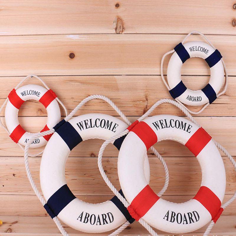 Mediteranean Sea Life Buoy Wall Stickers Hanging Lifebuoy For Bar Home Decor Props Nautical Life Ring Wedding Crafts Wall Decor