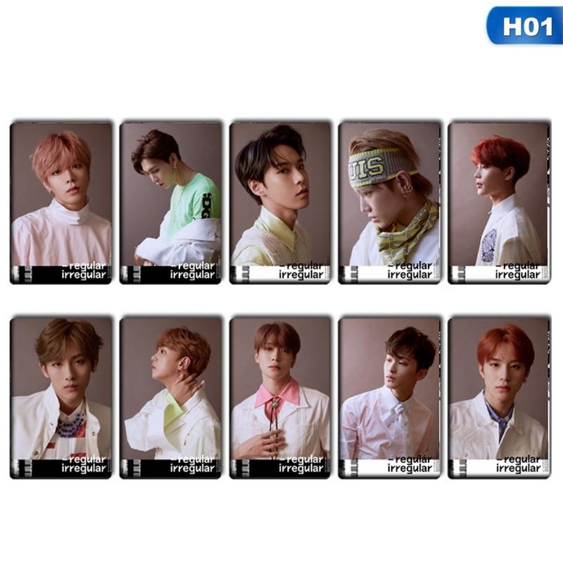 10 unids/set K-POP NCT 127 Mini álbum cristal tarjeta pegatinas auto-hechas autofoto tarjetas de papel