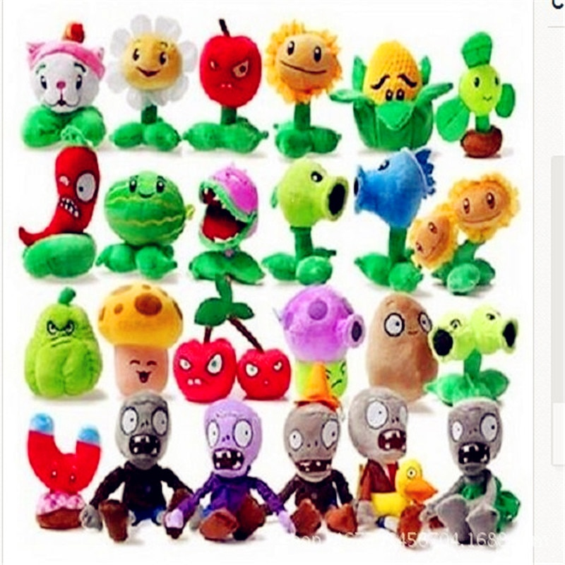 1PCS 27 Style Funny Plants vs Zombies Plush Toys 13-20cm Plants vs Zombies Soft Stuffed Plush Toys D