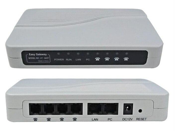 Ücretsiz Post Kargo! VoIP ATA FXS ağ geçidi 4FXS limanlarından PBX Trunk Asterisk IP PBX HT842T VoIP Analog Terminal Adaptörü FXS ağ geçidi