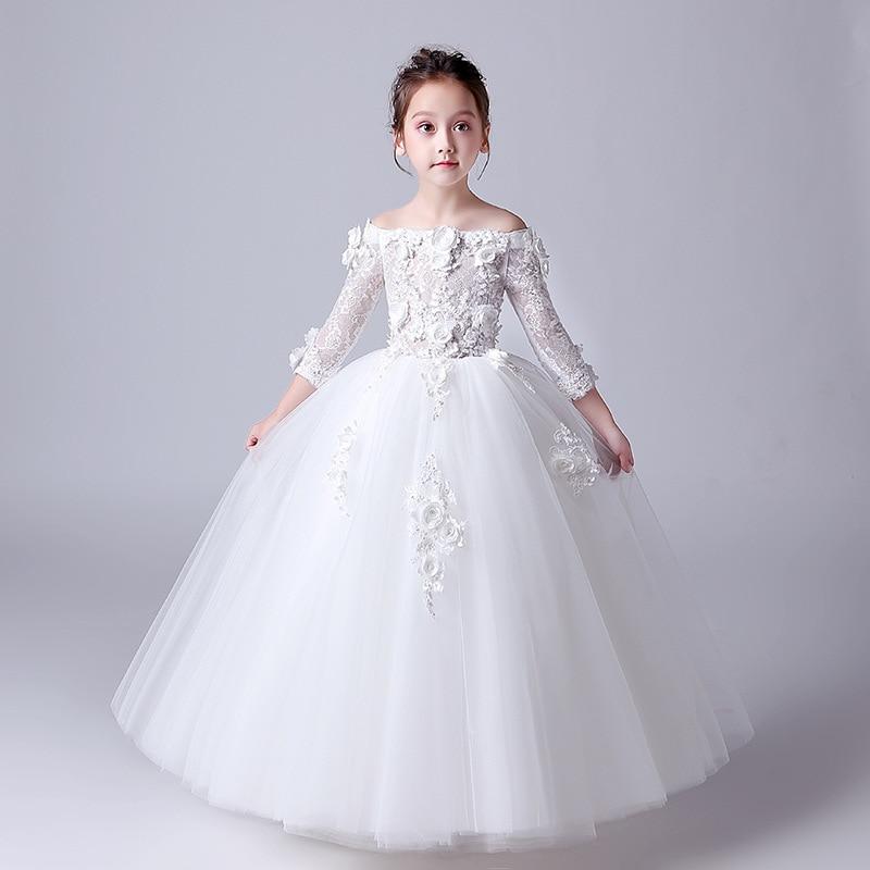 Meninas de Flor Vestido para o Casamento Festa de Casamento Vestidos de Noiva Moda Branco Vermelho Cinza Flores Meninas Pageant Pouco