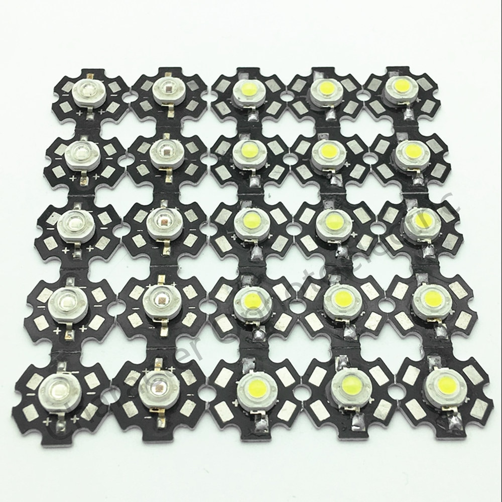 25pcs 3w cree high power led light emitting diode leds chip with aluminum star pcb warm white cold white red green blue yellow 50pcs 1W 3W High Power white warm white red green Blue Royal blue 660nm LED with 20mm  star pcb