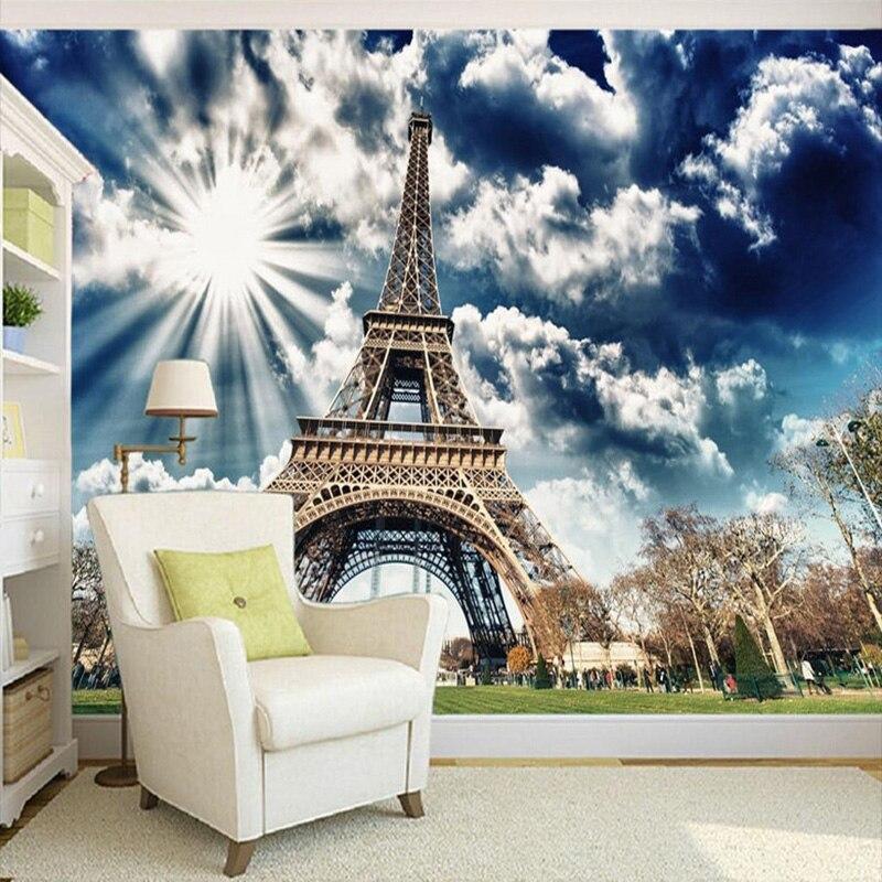 Modernos murales De fotos 3D Torre Eiffel cielo azul sol Papel tapiz sala De estar estudio papeles pintados De fondo Papel De pared 3 D
