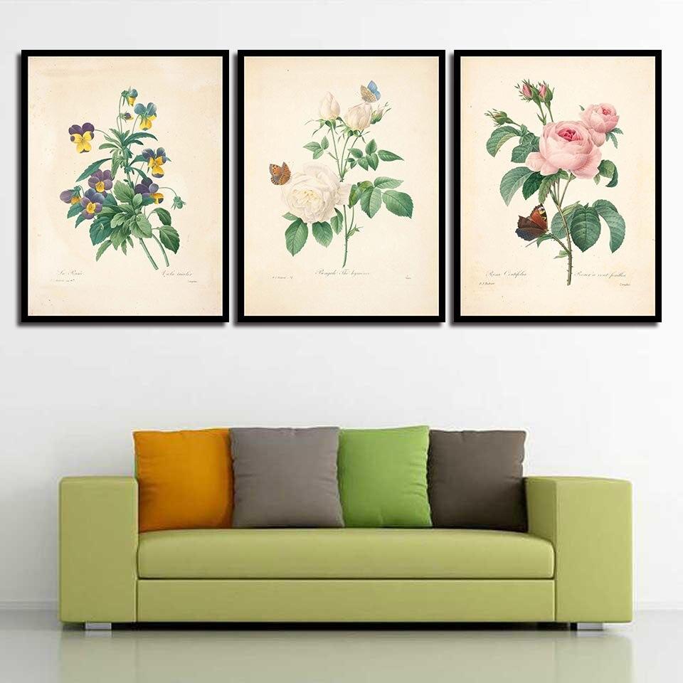 Elegante Cartoon Blumen Nordic Einfache Stil Wohnkultur Raum Kunst Poster Leinwand Drucke Malerei Wand Bilder Für Zimmer Unframed