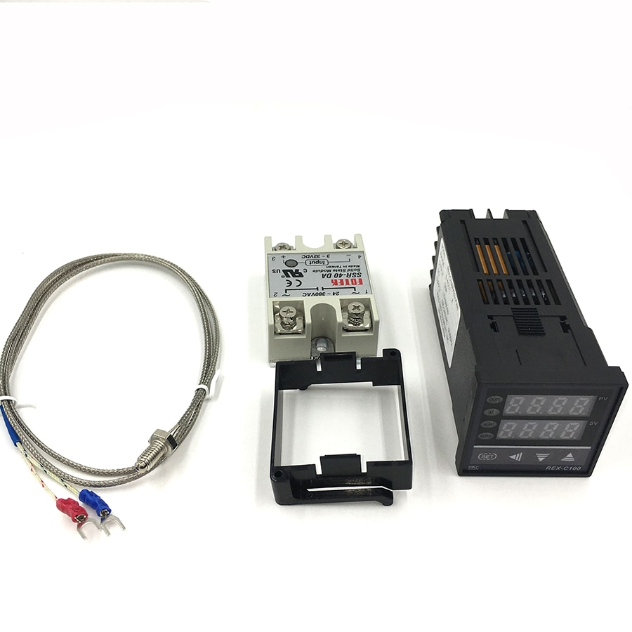 Digital Thermostat PID RKC Temperature Controller  REX-C100  SSR Output+ SSR 40DA Relay + K Thermocouple Probe sensor