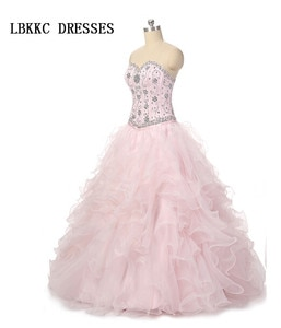 Sweetheart Pink Quinceanera Dresses 2 Pieces Ball Gown Organza Beaded Sweet 16 Dresses Ball Gowns Vestidos De 15 Anos