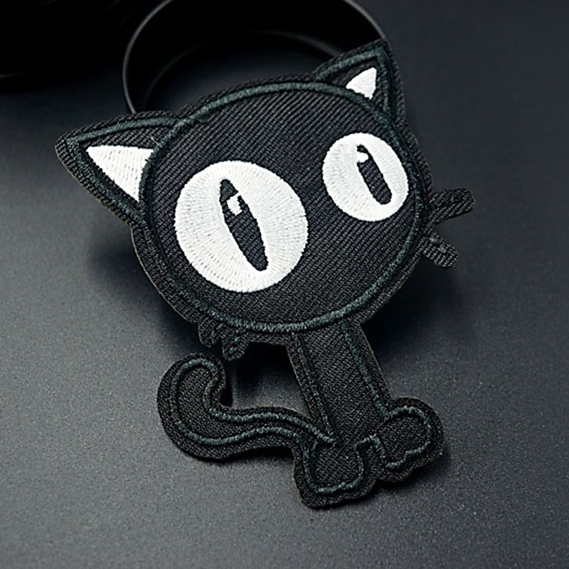Pulaqi Punk Cat Dead God Patches Embroidery Iron On Patches For Clothing  Black Skull stripes Patch On Cloths Stickers Applique