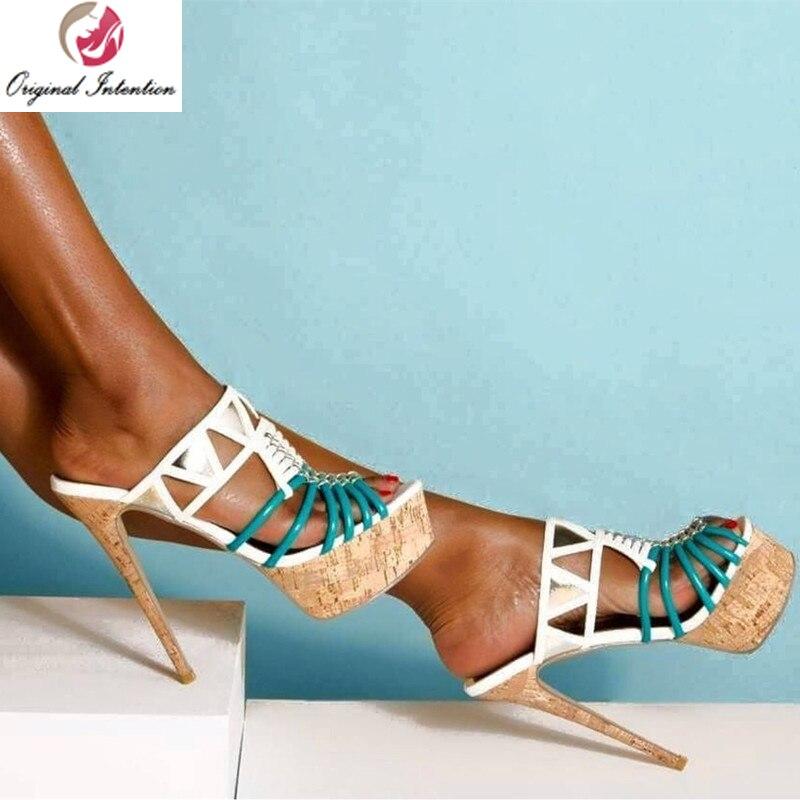 Original Intention Stylish Gladiator Women Sandals  Platform Stiletto High Heels Sandalia Blue&White Summer Shoes Woman Size 15