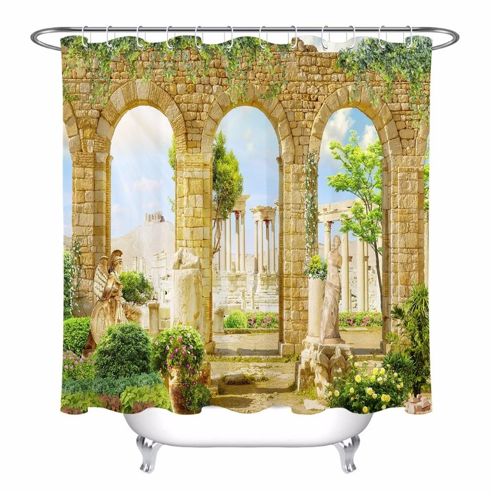 Grecia pilares estatua Ivy flor Cortina de ducha paisaje de baño impermeable poliéster lavable tela arte bañera Decoración