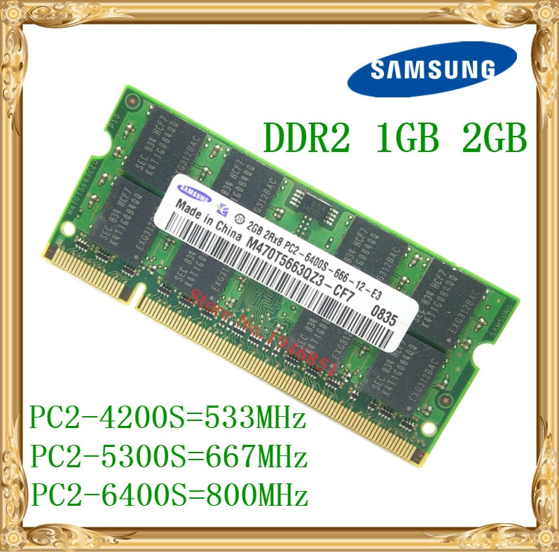 Ordenador portátil Samsung memoria 1GB 2GB DDR2 533, 667, 800MHz PC2-4200 5300...