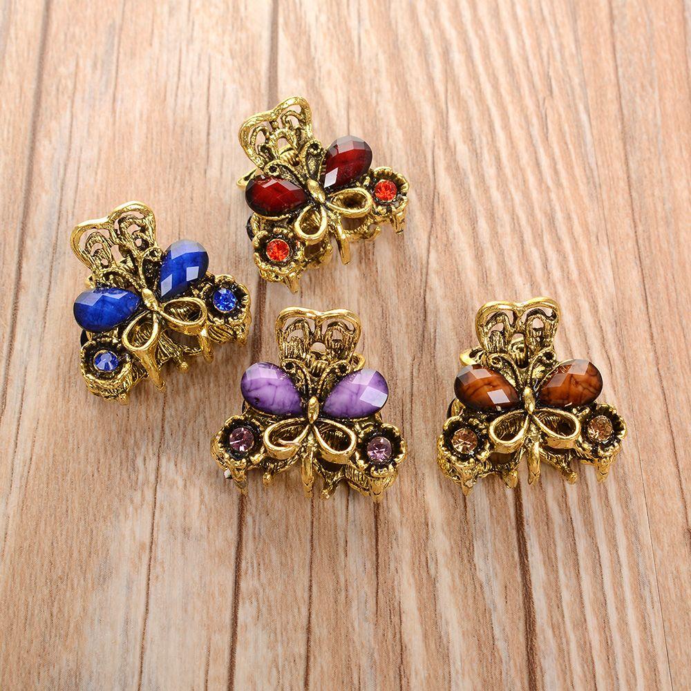 4 estilos Vintage mariposa de Metal de cristal pequeño Mini pinza de pelo pinza Retro Rhinestone horquilla con joyería accesorios para el cabello