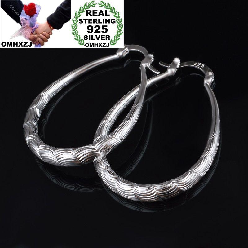 OMHXZJ venta al por mayor de la personalidad de moda OL mujer chica fiesta boda Oval de plata grabado pendientes de plata de ley 925 YE475