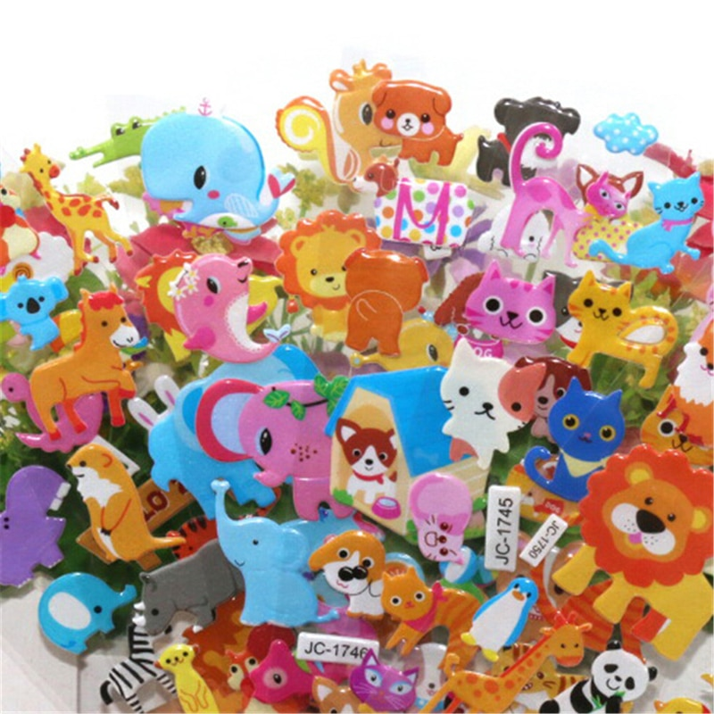 5 Sheets Cute 3D Cartoon Animal PVC Bubble Puffy Stickers Kids Girl Boy Dinosaurs Classic Toys School Teacher Reward