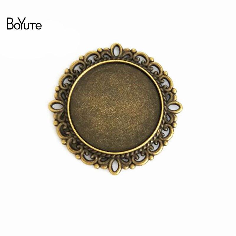 BoYuTe (30 unids/lote) 25MM cabujón Base Vintage accesorios piezas bronce antiguo doble soporte bisel colgantes para joyería