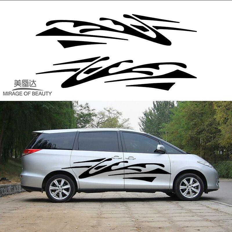 2 X abstracto arte impresionista rayas caos rastros de pegatinas de coche para autocaravana caravana remolque calcomanía de vinilo para camión pared LXS