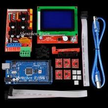 Mega 2560 R3 Mega2560   Panneau + rampes 1.4 + LCD 12864, contrôleur + A4988, pilote de moteur à Stepper pour Arduino RepRap, Kit dimprimante 3D