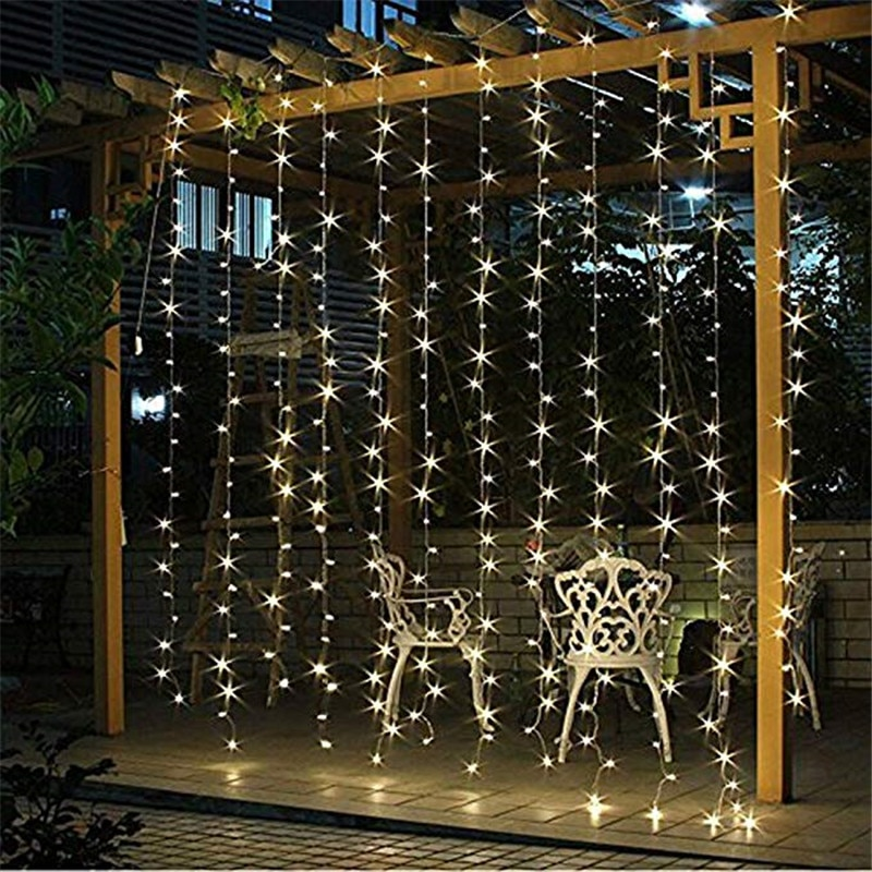 3X3 Connectable Curtain Icicle Lights String 220V with 300 LED Net for Outdoor Lighting Holiday Wedding Party Decoration