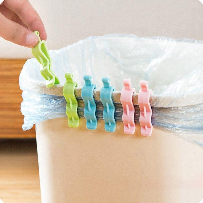 6 unids/lote práctico organizador para el hogar Clip bolsa de basura pinza para basura bolsas de basura antideslizante Clip hogar Oficina suministro gran oferta