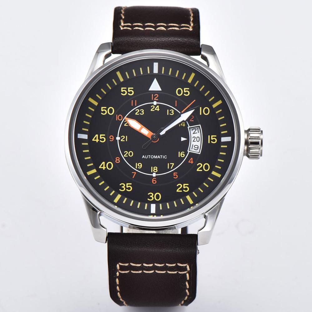 ساعة رجالية مضيئة بسوار جلدي ، مينا أسود ، ميكانيكية ، أوتوماتيكية ، 44 مللي متر