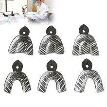 6 pièces/ensemble Impression dentaire en acier inoxydable Autoclavable outil de prothèse dentaire plateau de dents hygiène buccale plateau de dents outils de laboratoire dentaire