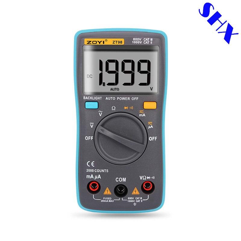 Цифровой автоматический мультиметр ZT98 2000 отсчетов с подсветкой, амперметр переменного/постоянного тока, измеритель напряжения, вольтметр, ...