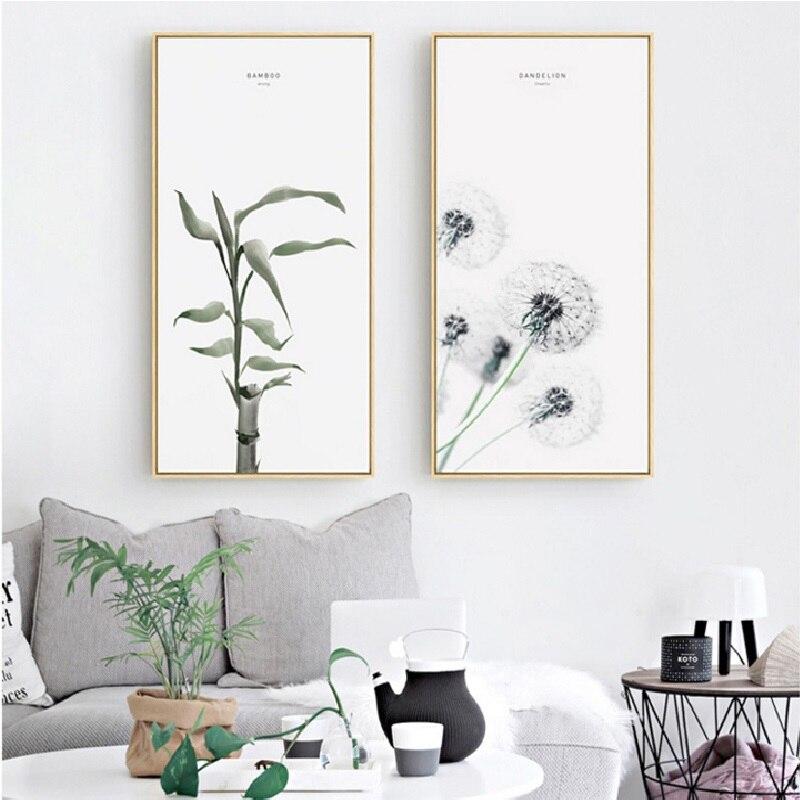 Абстрактные скандинавские растения, бамбук, Одуванчик, эвкалипт, роза, лепестки, красочный, спокойный холст, постер, картина для домашнего д...