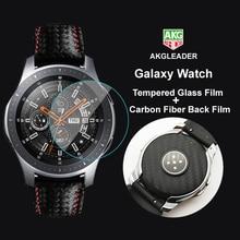 Pour Galaxy Montre 46mm verre trempé Film + Film de fibre de carbone Pour Samsung Galaxy Montre Écran De Protection agréable avec vous bande