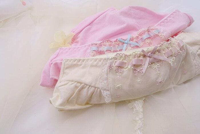 Милое нижнее белье принцессы в стиле Лолиты; Японское розовое абрикосовое хлопковое нижнее белье с вышивкой; нижнее белье со средней талией...