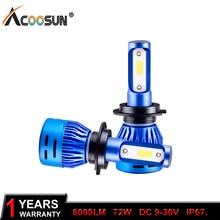 AcooSun H4 Led H7 LED bombillas de faro delantero de coche H1 H11 6500K 12V 12V 9005 HB3 9006 HB4 9012 72W 8000LM faro antiniebla delantero de coche 6500K 24V