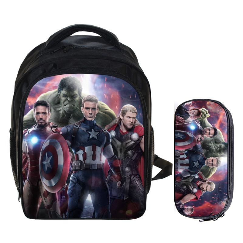 13 Inch Super Hero Iron man Hulk Backpack Children School Bags For Teenagers Kids Gift Schoolbags Mochila Daily Backpack
