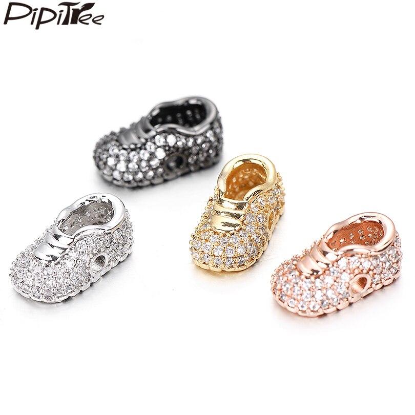 Pipitree 3 шт./лот, белые кубические туфли с цирконием и бусинами, подходят для браслета, латунные DIY Подвески, разделители для ювелирных изделий, 8x15 мм, оптовая продажа