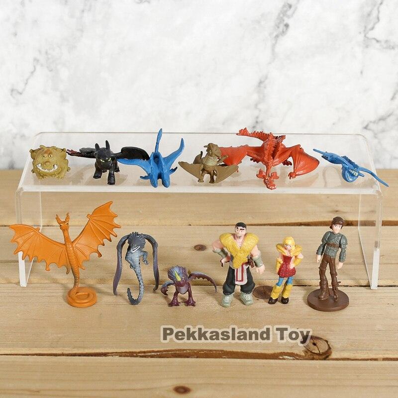 12 unids/set cómo entrenar a tu dragón 3 figuras de acción Hiccup desdentado furia nocturna dragón cráneo Gronckle Nadder mortal figuras
