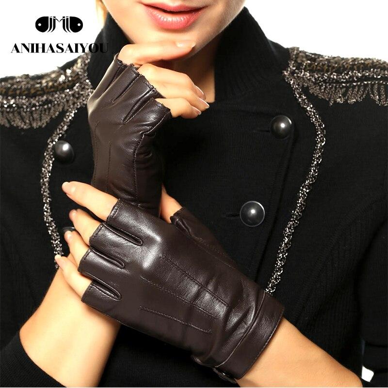 High-grade leather gloves women locomotive street dance simple fashion fingerless sheepskin short - L135